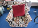 Upholstered Scroll Red/Yellow Motif Arm Chair