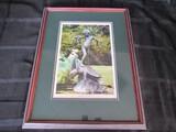 Seaweed Fountain Picture Print in Wood Frame/Matt