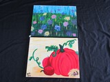 Pair - Hand Painted Tall Fruits/Blue Yellow Pink Flowers Pictures on Canvas