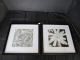Pair - Black/White Floral Picture Prints in Black Frame/Matt