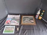 Lot - Dale Earnhardt Jr 2008 Calendar, No.2/No.8 Picture Print, No.3 Lighter, No.3 Stitch Art