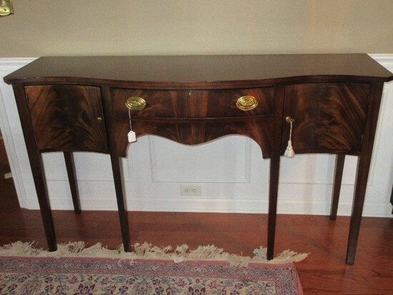 Madison Square Crotch Mahogany Bow Front Hepplewhite Style Side Board Lined