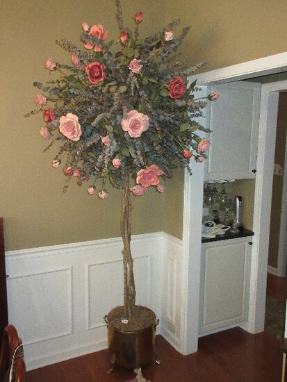 Topiary Stem Silk Roses & Eucalyptus Braided Tree Base in Brass Paw Footed Planter