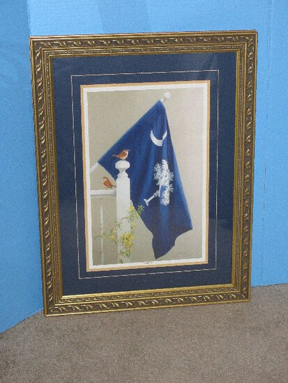 """Titled """"Stately Trio"""" Attributed to Signed in Pencil William Carl Bell Fine Art Lithograph"""