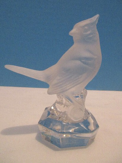 """Signed Goebel Hummel Frosted Crystal Collection Perched 4"""" Figural Cardinal Red Bird"""
