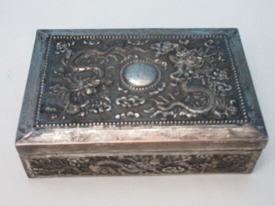 Antique Chinoiserie Argent Means Silver in French Keepsake Box