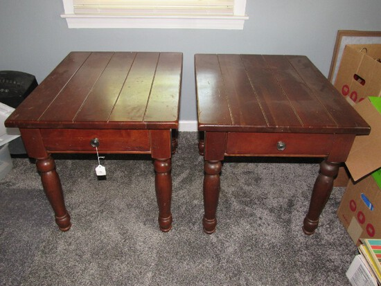 Solid Wooden Slat Top Pair Side Tables Block/Spindle Legs, Dovetailed, Metal Pull