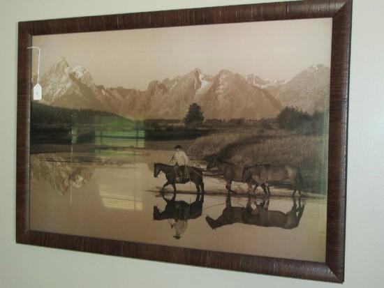 Vintage Monochrome Cowboy Crossing River Scene Picture Print in Wood Frame/Matt