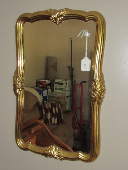 Wall Mounted Mirror in Ribbed Gilted Ornate Wooden Frame/Matt