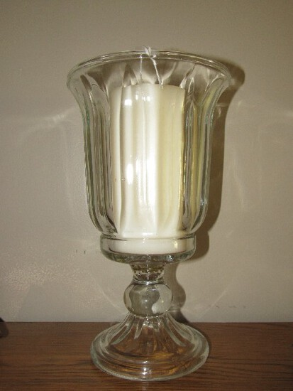 Tall Glass Votive Candle Décor Vase on Oval Ball Base