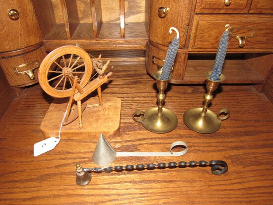 Misc. Lot - Wooden Miniature Spindle, Metal Candle Snuffers