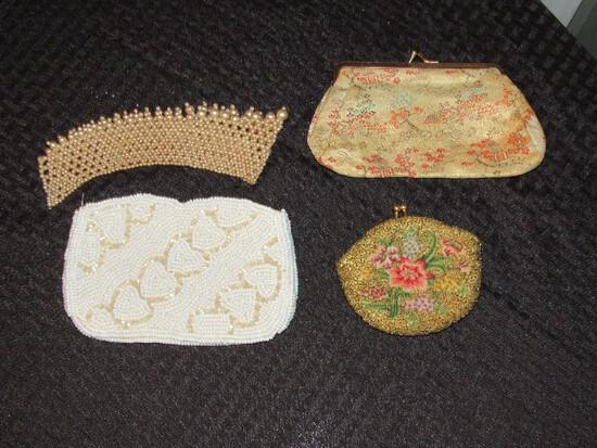 Vintage Bead Pattern/Design Ladies Purses, Heart Motif, Asian Motif Home/Tree