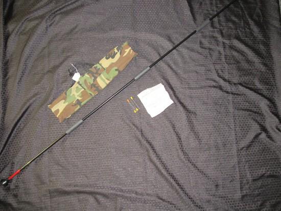 Long Black Metal Blowgun Survival Weapon w/ 4 Darts in Bag