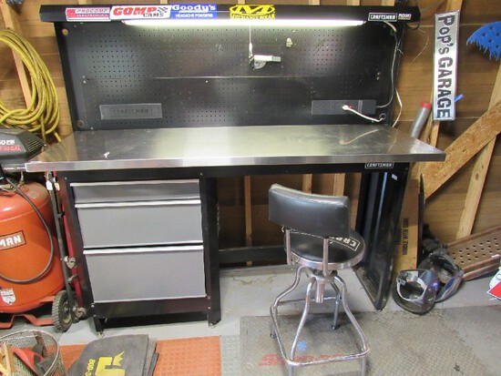 Craftsman Rigid Large Black Metal Work Table Lighted, Extension Attached, 3 Drawers