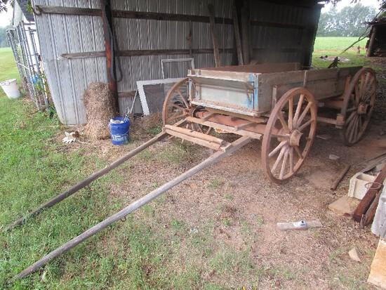 Amazing Vintage Wooden Body One Horse Wagon, Back Board Wagon, w/ Wooden Spoke Wheels, Metal Band