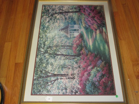 Colorful Gazebo Garden Picture Print in Rope Trim Gilted Wooden Frame/Matt