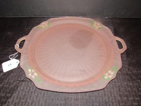 Anchor Hocking Vintage 1931 - 1937 Mayfair Line Depression Glass Platter w/ Handles
