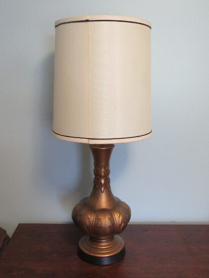 Gilted wide to Narrow Vase Metal w/ Acanthus Leaf Pattern Block Base w/ Shade