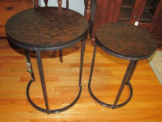Pair - Wood Veneer Top Round Nesting Tables Black Metal Legs