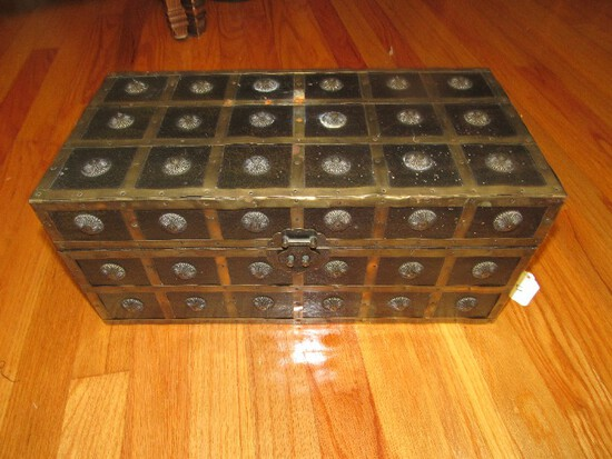 Block Wooden Storage Chest w/ Brass Block/Floral Finial Pattern w/ Engraved Bird Latch