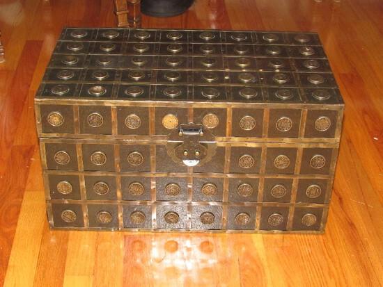 Block Wooden Storage Chest w/ Brass Floral Finial Pattern w/ Engraved Bird Latch