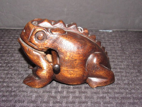 Dark Wooden Frog Guiro Rasp Musical Tone Block