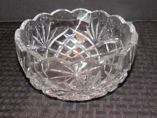 Galway Irish 24% Lead Crystal Fan/Diamond Cut Pattern Star Burst Base Bowl