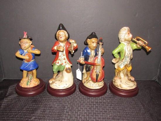4 Antique/Vintage Ceramic Monkeys Playing Instruments on Wood Base