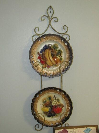 "Napcoware Ceramic Fruit Design Décor Plates 10 1/4"" D, Scroll Metal Plate Holder"