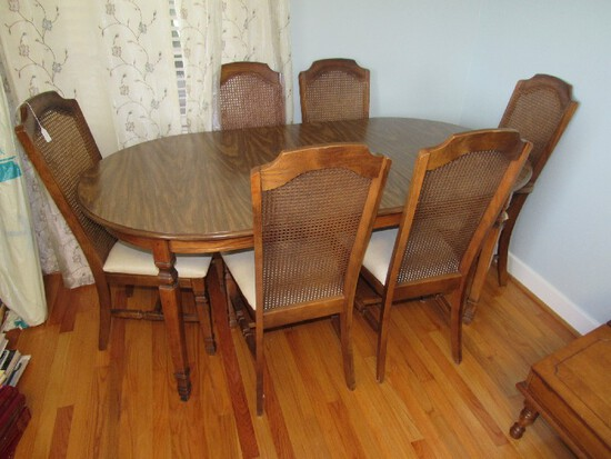 Mahogany Wood Top Extendable Dining Table 1 Leaf w/ 6 Chairs, 1 Host/5 Sides
