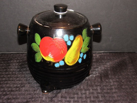 Vintage Black Ceramic Bean Pot Fruit Hand Painted Motif
