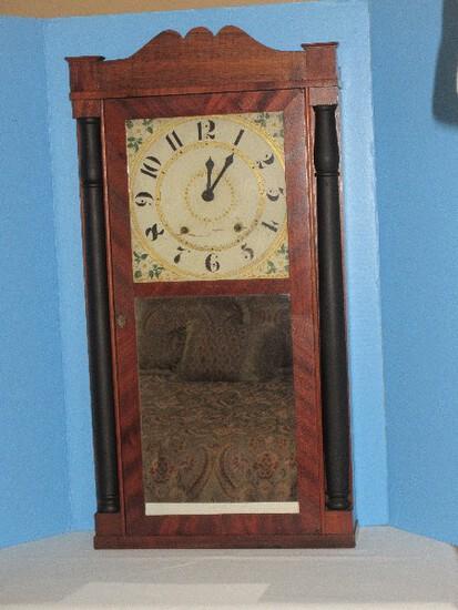 Stately Antique Seth Thomas Ogee Mahogany Veneer Black Demi-Lune Pillar Columns Clock