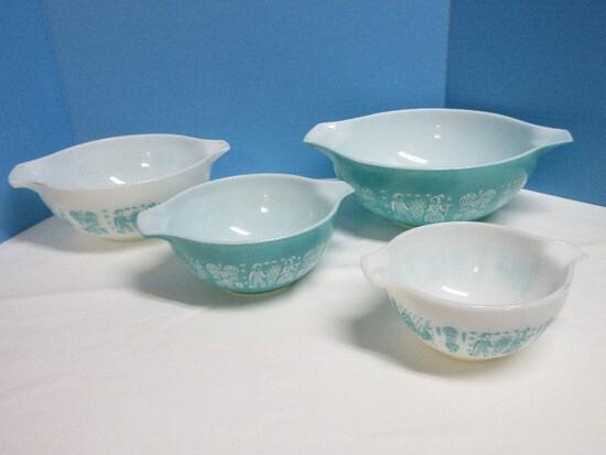 Set - 4 Pyrex Cinderella Nesting Mixing Bowls Butterprint Pattern Circa 1957-1968