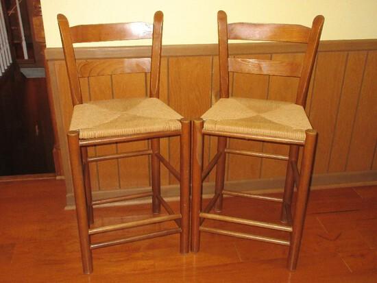 Pair - Oak Ladder Back Bar Counter Stool w/ Woven Rush Seats