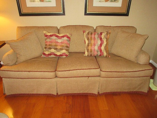 Hickory Chair Furniture Transitional Modern Sofa w/ Pleated Skirt