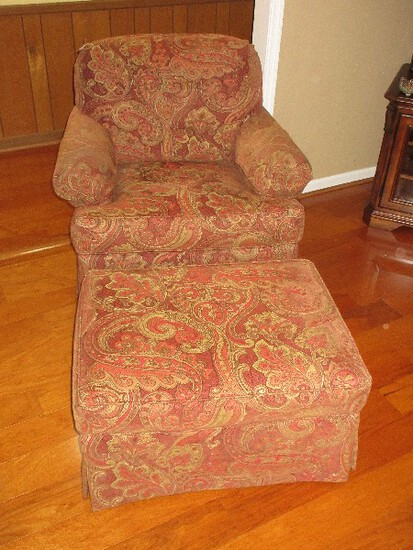 Hickory Chair Furniture Swivel Glider Lounge/Reading Chair w/ Ottoman