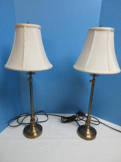 Stylish Pair Unique Banquet End Lamps Brushed Brass Antique Patina w/ Adjustable Height