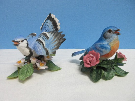 "Lenox Garden Bird Collection Fine Porcelain Male Blue Jar 4 1/4"" Figurine"
