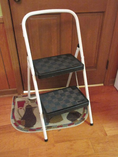 Cosco White Metal Folding Step Stool 200lb Light Duty Rated