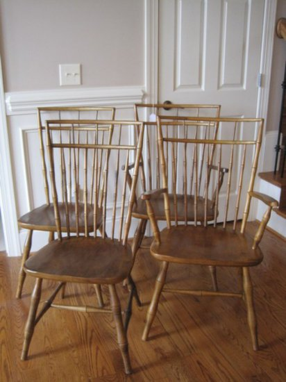 4 Ethan Allen Hard Rock Maple Birdcage Dining Chairs