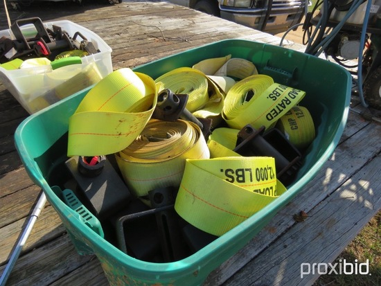 Box of nylon straps & winches