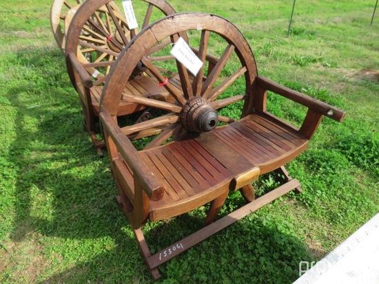 Teakwood wagon wheel bench
