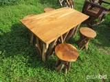 Teakwood table w/ 4 stools
