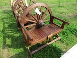 Teakwood wagon wheel bench