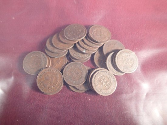 Lot of (30) Indian Head Cents.