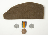 WWI Grouping--Dog Tags, Hat, Campaign Medal
