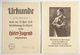Rare Hitler Portrait & Hitler Youth 1938 Document