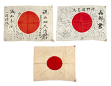 Three Japanese WWII Battle Flags