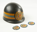 US Army Constabulary Helmet Liner & 3 Patches
