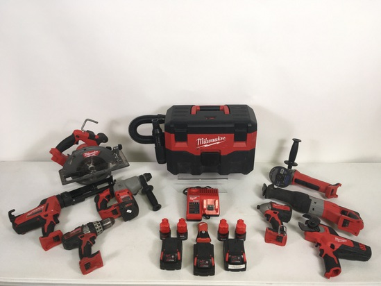 18 Pcs. Milwaukee Cordless Power Tools